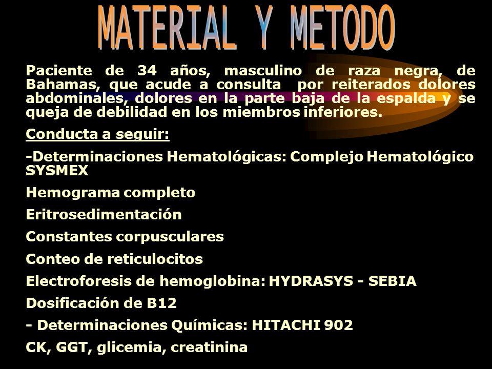 Hemograma completo: Hb: 162 g/L Hto: 0,54 Leucocitos: 7,8 x 10 9/L Neutrófilos: 0,63 Linfocitos: 0,28 Monocitos: 0,03 Eosinófilos: 0,06 Stab: 0,00 Eritrosedimentación: 1 mm/h Determinaciones Hematológicas: Dosificación de B12: 673,8 pmol/LConstantes corpusculares: VCM: 91,5 fL HCM: 27,3 pg CHCM: 298 g/L Conteo de reticulocitos: 8,4 x 10 9 /L