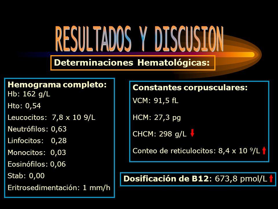 Hemograma completo: Hb: 162 g/L Hto: 0,54 Leucocitos: 7,8 x 10 9/L Neutrófilos: 0,63 Linfocitos: 0,28 Monocitos: 0,03 Eosinófilos: 0,06 Stab: 0,00 Eri