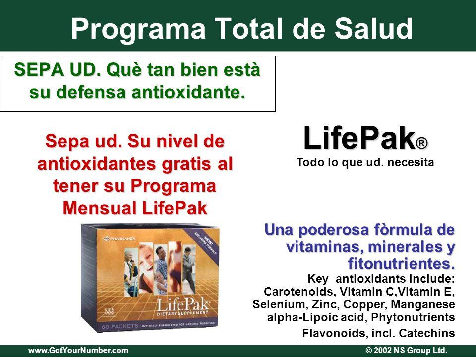 www.GotYourNumber.com © 2002 NS Group Ltd. Programa Total de Salud SEPA UD. Què tan bien està su defensa antioxidante. Una poderosa fòrmula de vitamin