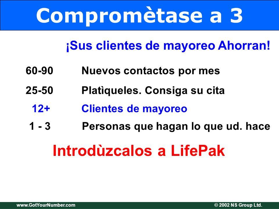 www.GotYourNumber.com © 2002 NS Group Ltd. Compromètase a 3 ¡Sus clientes de mayoreo Ahorran! 60-90Nuevos contactos por mes 25-50Platìqueles. Consiga
