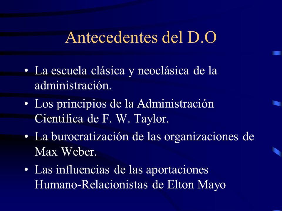 Antecedentes del D.O La escuela clásica y neoclásica de la administración. Los principios de la Administración Científica de F. W. Taylor. La burocrat