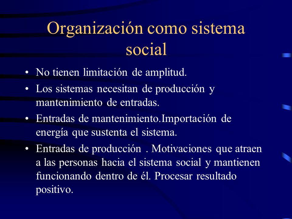 Organización como sistema social No tienen limitación de amplitud. Los sistemas necesitan de producción y mantenimiento de entradas. Entradas de mante