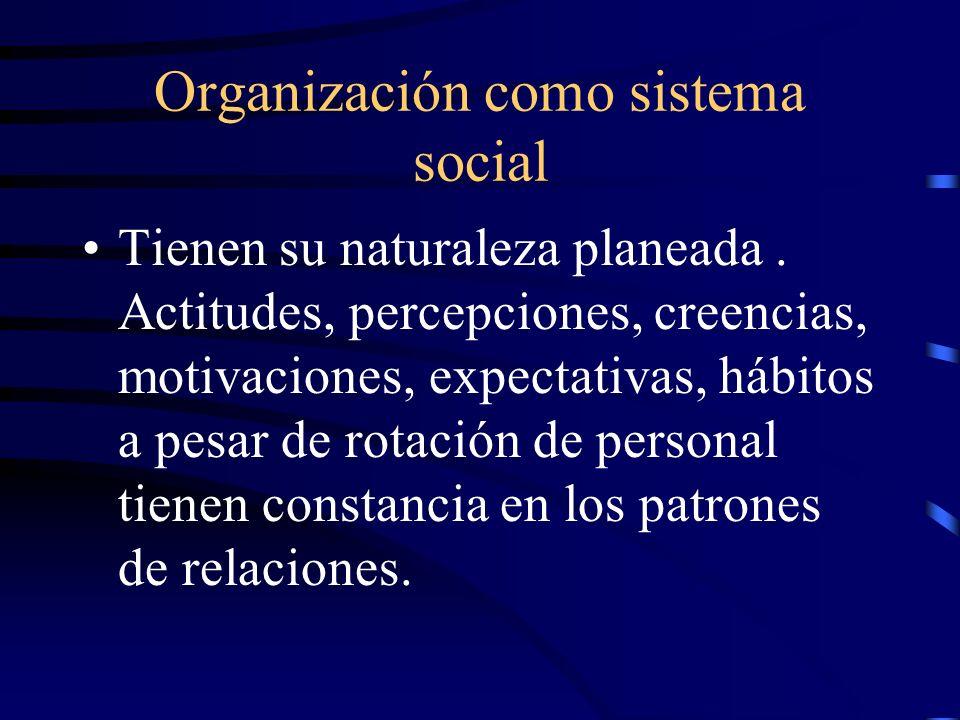 Organización como sistema social Tienen su naturaleza planeada. Actitudes, percepciones, creencias, motivaciones, expectativas, hábitos a pesar de rot