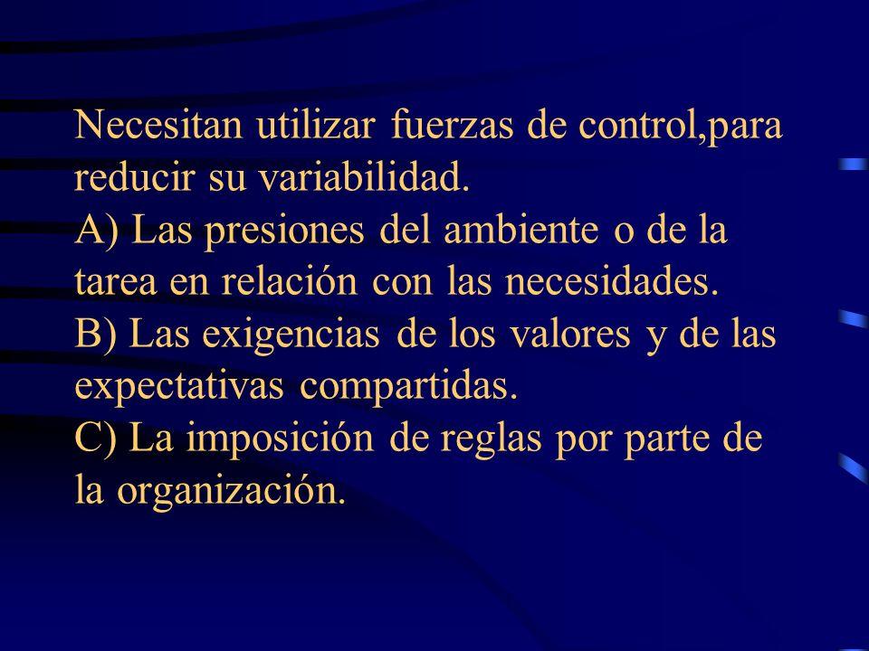 Necesitan utilizar fuerzas de control,para reducir su variabilidad. A) Las presiones del ambiente o de la tarea en relación con las necesidades. B) La