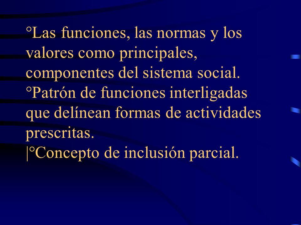 °Las funciones, las normas y los valores como principales, componentes del sistema social. °Patrón de funciones interligadas que delínean formas de ac