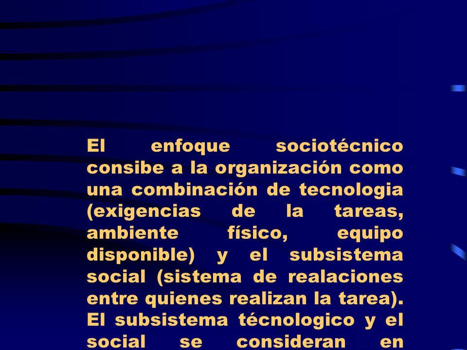 El enfoque sociotécnico consibe a la organización como una combinación de tecnologia (exigencias de la tareas, ambiente físico, equipo disponible) y e