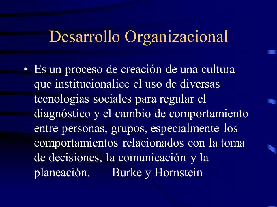 Desarrollo Organizacional Es un proceso de creación de una cultura que institucionalice el uso de diversas tecnologías sociales para regular el diagnó