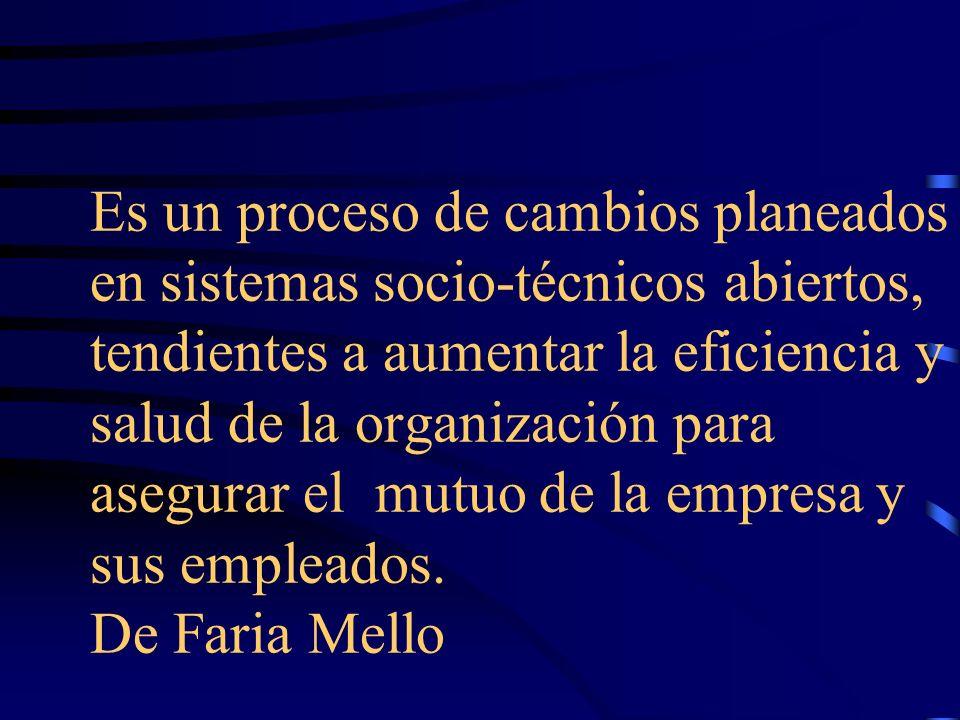 Es un proceso de cambios planeados en sistemas socio-técnicos abiertos, tendientes a aumentar la eficiencia y salud de la organización para asegurar e
