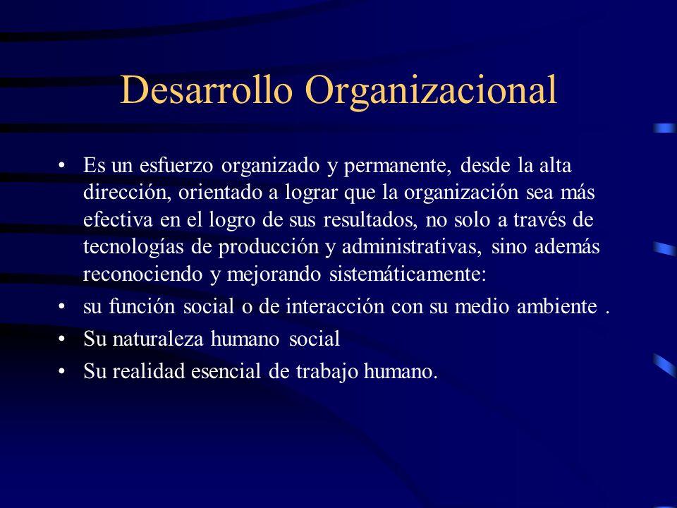 Desarrollo Organizacional Es un esfuerzo organizado y permanente, desde la alta dirección, orientado a lograr que la organización sea más efectiva en