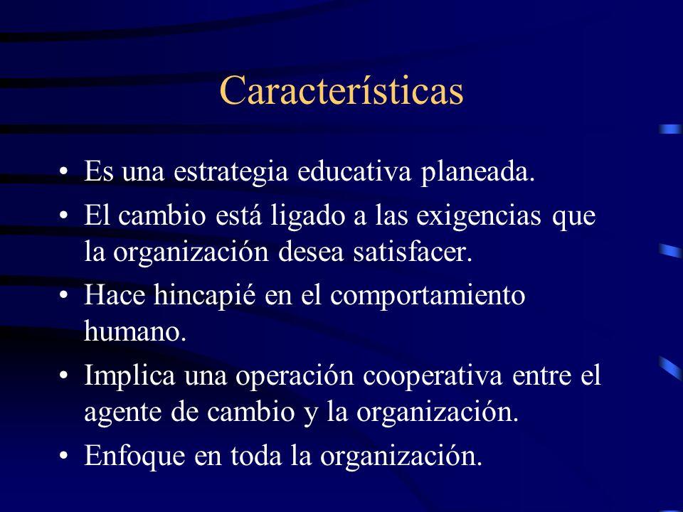 Características Es una estrategia educativa planeada. El cambio está ligado a las exigencias que la organización desea satisfacer. Hace hincapié en el
