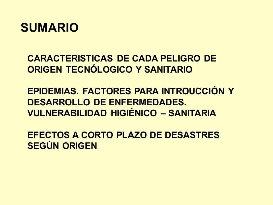 SUMARIO CARACTERISTICAS DE CADA PELIGRO DE ORIGEN TECNÓLOGICO Y SANITARIO EPIDEMIAS. FACTORES PARA INTROUCCIÓN Y DESARROLLO DE ENFERMEDADES. VULNERABI