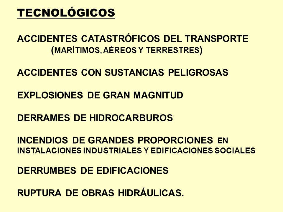 TECNOLÓGICOS ACCIDENTES CATASTRÓFICOS DEL TRANSPORTE ( MARÍTIMOS, AÉREOS Y TERRESTRES ) ACCIDENTES CON SUSTANCIAS PELIGROSAS EXPLOSIONES DE GRAN MAGNI