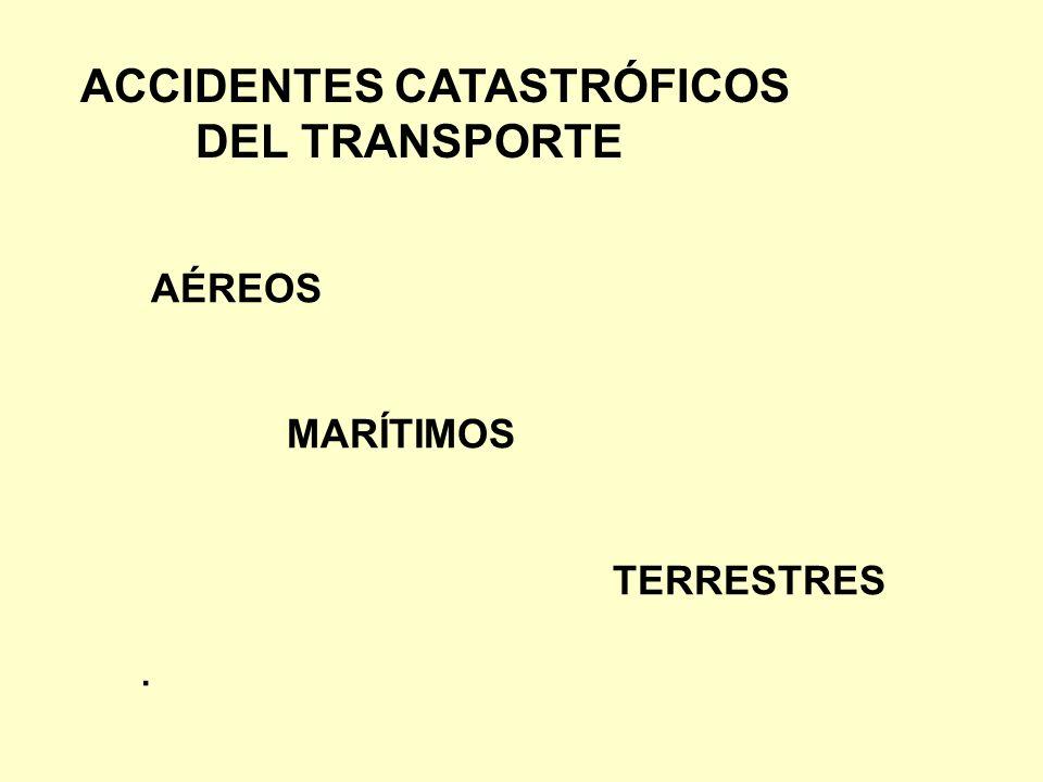 ACCIDENTES CATASTRÓFICOS DEL TRANSPORTE AÉREOS MARÍTIMOS TERRESTRES.