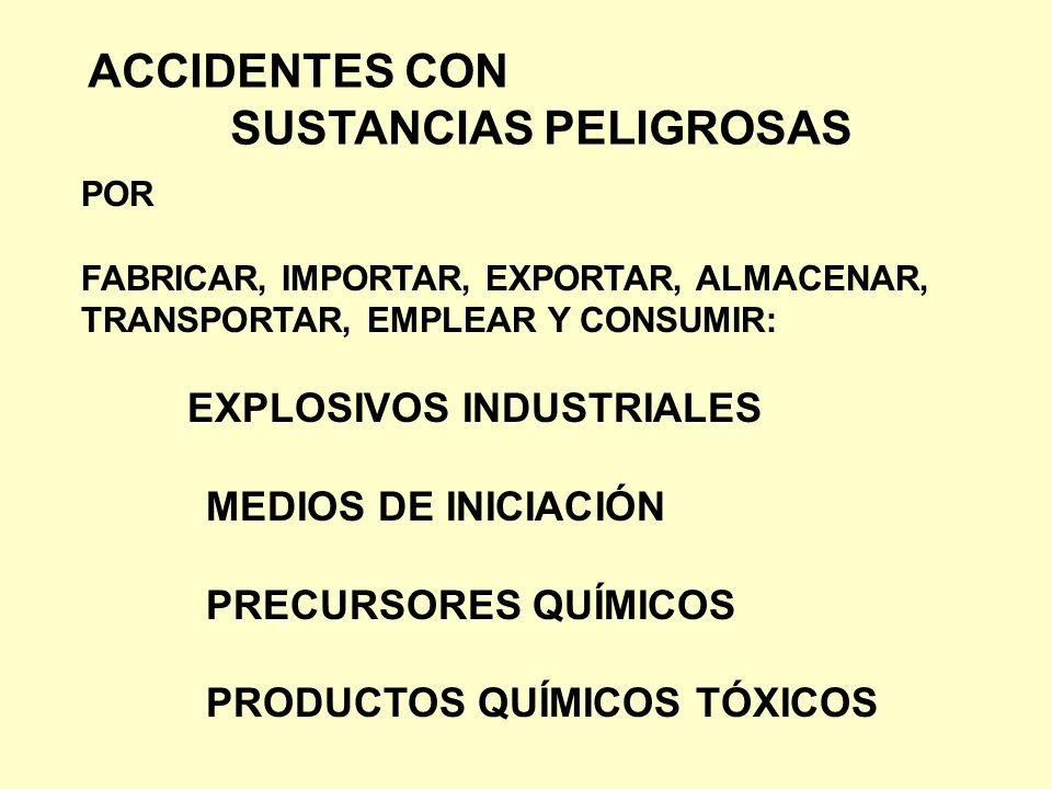 ACCIDENTES CON SUSTANCIAS PELIGROSAS POR FABRICAR, IMPORTAR, EXPORTAR, ALMACENAR, TRANSPORTAR, EMPLEAR Y CONSUMIR: EXPLOSIVOS INDUSTRIALES MEDIOS DE I