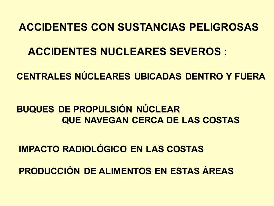 ACCIDENTES NUCLEARES SEVEROS : CENTRALES NÚCLEARES UBICADAS DENTRO Y FUERA BUQUES DE PROPULSIÓN NÚCLEAR QUE NAVEGAN CERCA DE LAS COSTAS IMPACTO RADIOL