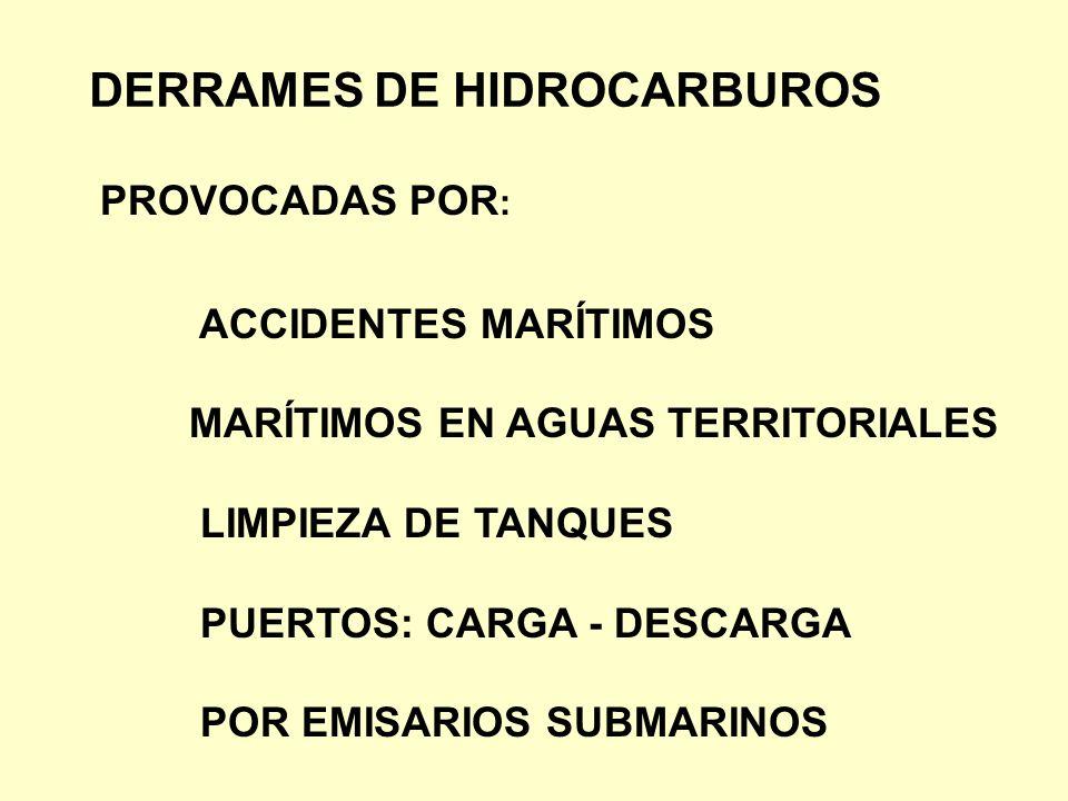 DERRAMES DE HIDROCARBUROS ACCIDENTES MARÍTIMOS MARÍTIMOS EN AGUAS TERRITORIALES LIMPIEZA DE TANQUES PUERTOS: CARGA - DESCARGA POR EMISARIOS SUBMARINOS