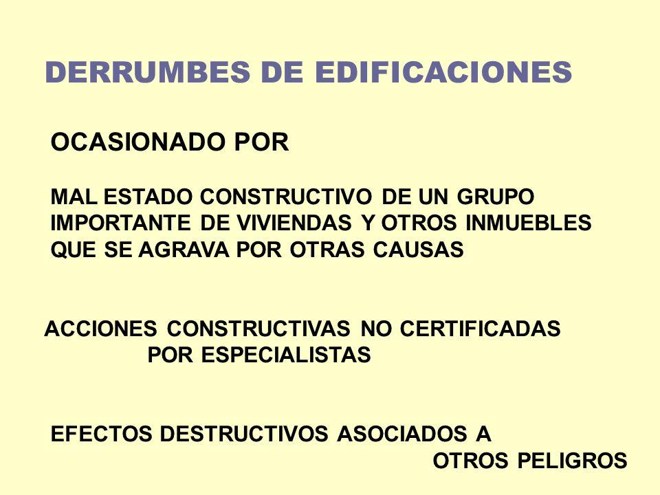 DERRUMBES DE EDIFICACIONES OCASIONADO POR MAL ESTADO CONSTRUCTIVO DE UN GRUPO IMPORTANTE DE VIVIENDAS Y OTROS INMUEBLES QUE SE AGRAVA POR OTRAS CAUSAS