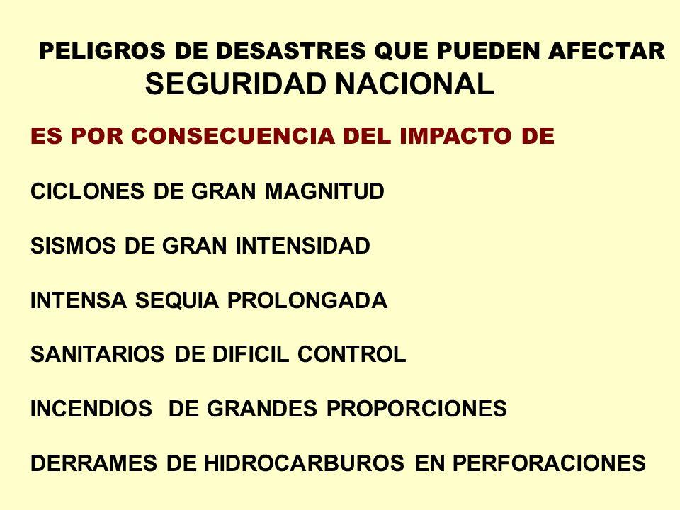 PELIGROS DE DESASTRES QUE PUEDEN AFECTAR SEGURIDAD NACIONAL ES POR CONSECUENCIA DEL IMPACTO DE CICLONES DE GRAN MAGNITUD SISMOS DE GRAN INTENSIDAD INT