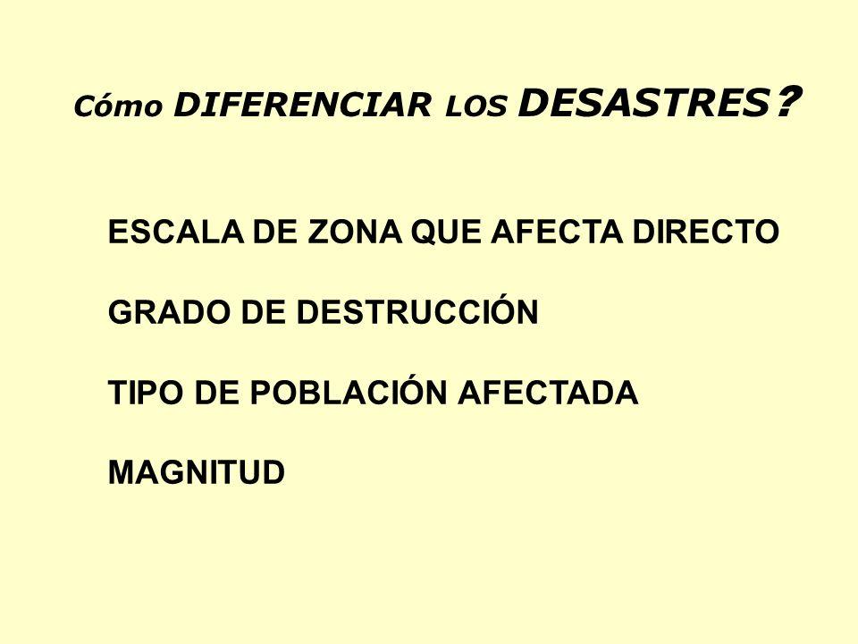 ESCALA DE ZONA QUE AFECTA DIRECTO GRADO DE DESTRUCCIÓN TIPO DE POBLACIÓN AFECTADA MAGNITUD Cómo DIFERENCIAR LOS DESASTRES ?