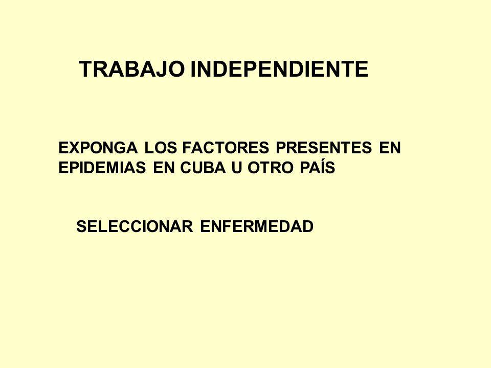 TRABAJO INDEPENDIENTE EXPONGA LOS FACTORES PRESENTES EN EPIDEMIAS EN CUBA U OTRO PAÍS SELECCIONAR ENFERMEDAD