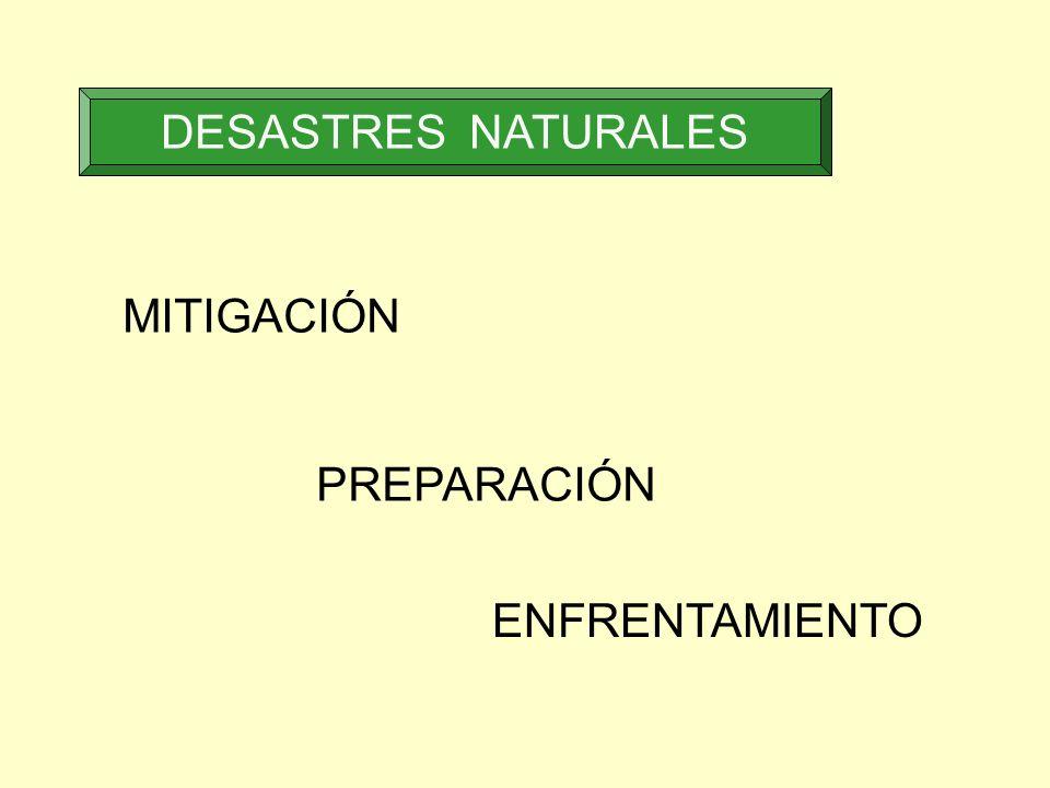 DESASTRES NATURALES MITIGACIÓN PREPARACIÓN ENFRENTAMIENTO