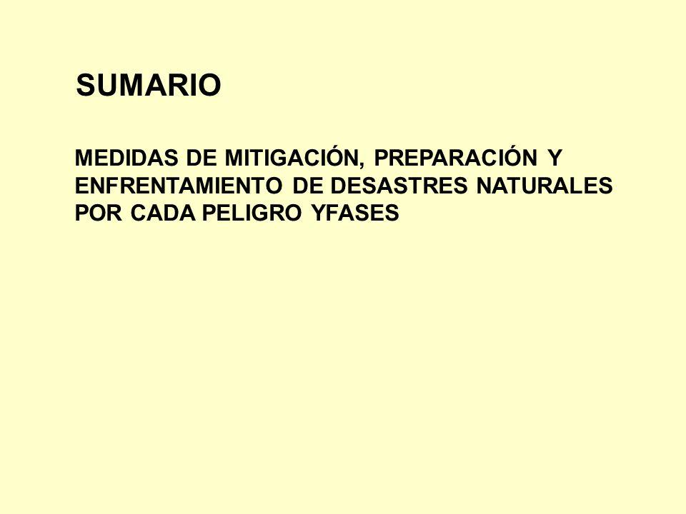 SUMARIO MEDIDAS DE MITIGACIÓN, PREPARACIÓN Y ENFRENTAMIENTO DE DESASTRES NATURALES POR CADA PELIGRO YFASES