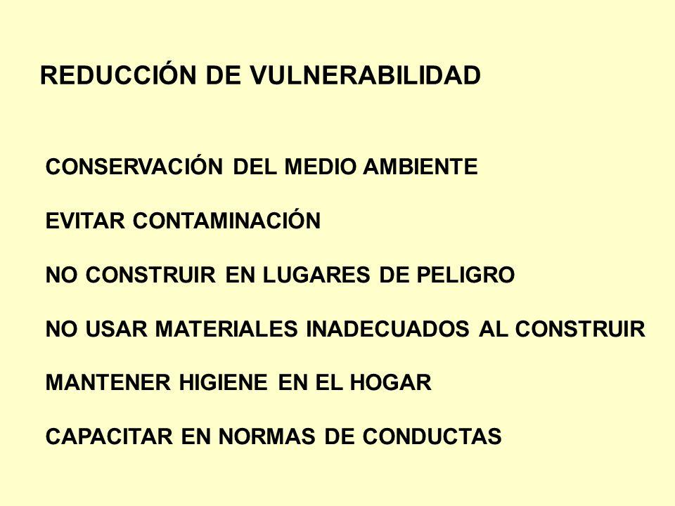 REDUCCIÓN DE VULNERABILIDAD CONSERVACIÓN DEL MEDIO AMBIENTE EVITAR CONTAMINACIÓN NO CONSTRUIR EN LUGARES DE PELIGRO NO USAR MATERIALES INADECUADOS AL