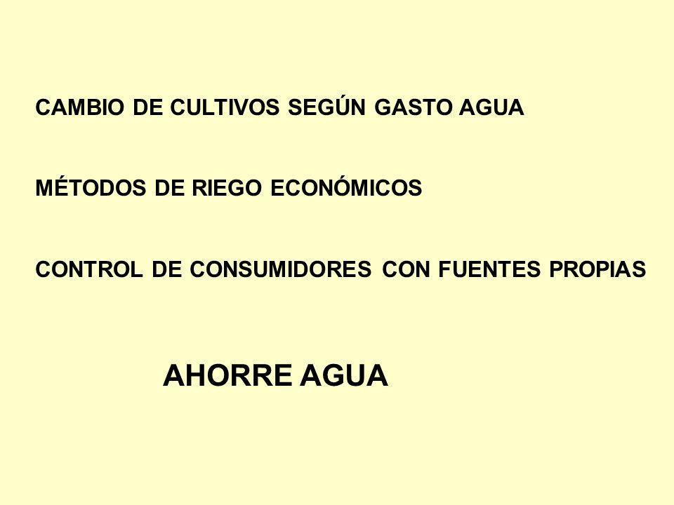 CAMBIO DE CULTIVOS SEGÚN GASTO AGUA MÉTODOS DE RIEGO ECONÓMICOS CONTROL DE CONSUMIDORES CON FUENTES PROPIAS AHORRE AGUA