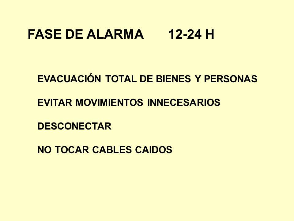 FASE DE ALARMA 12-24 H EVACUACIÓN TOTAL DE BIENES Y PERSONAS EVITAR MOVIMIENTOS INNECESARIOS DESCONECTAR NO TOCAR CABLES CAIDOS