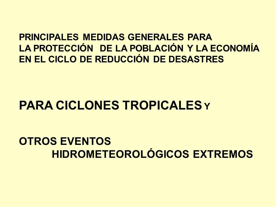 PRINCIPALES MEDIDAS GENERALES PARA LA PROTECCIÓN DE LA POBLACIÓN Y LA ECONOMÍA EN EL CICLO DE REDUCCIÓN DE DESASTRES PARA CICLONES TROPICALES Y OTROS