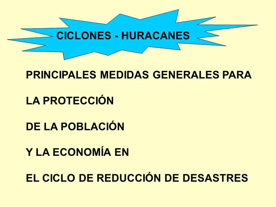 PRINCIPALES MEDIDAS GENERALES PARA LA PROTECCIÓN DE LA POBLACIÓN Y LA ECONOMÍA EN EL CICLO DE REDUCCIÓN DE DESASTRES CICLONES - HURACANES