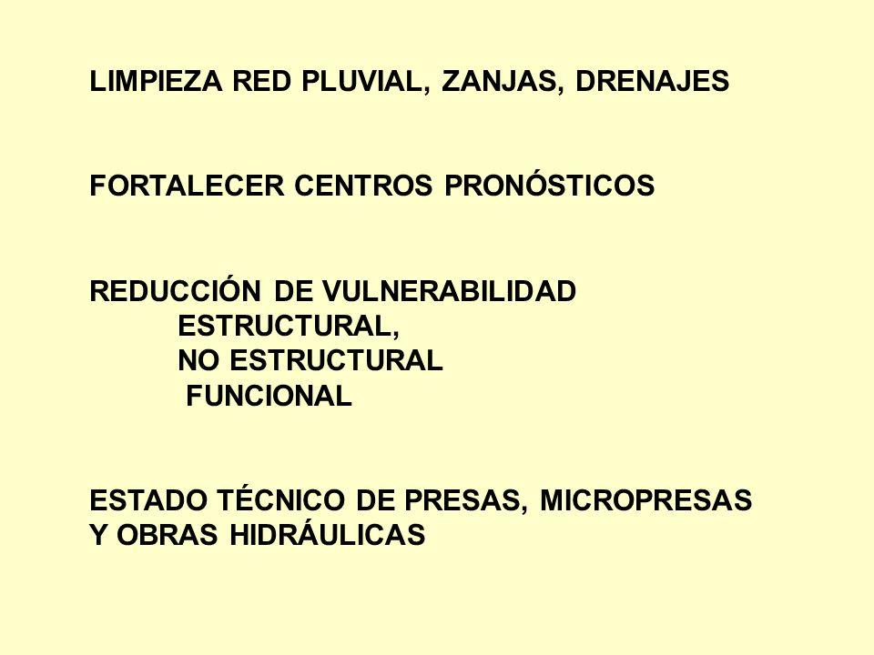 LIMPIEZA RED PLUVIAL, ZANJAS, DRENAJES FORTALECER CENTROS PRONÓSTICOS REDUCCIÓN DE VULNERABILIDAD ESTRUCTURAL, NO ESTRUCTURAL FUNCIONAL ESTADO TÉCNICO