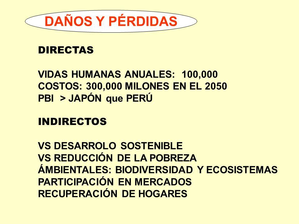 DAÑOS Y PÉRDIDAS DIRECTAS VIDAS HUMANAS ANUALES: 100,000 COSTOS: 300,000 MILONES EN EL 2050 PBI > JAPÓN que PERÚ INDIRECTOS VS DESARROLO SOSTENIBLE VS