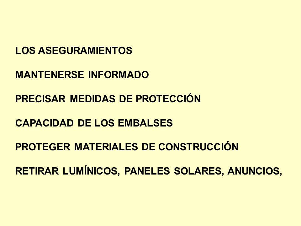 LOS ASEGURAMIENTOS MANTENERSE INFORMADO PRECISAR MEDIDAS DE PROTECCIÓN CAPACIDAD DE LOS EMBALSES PROTEGER MATERIALES DE CONSTRUCCIÓN RETIRAR LUMÍNICOS