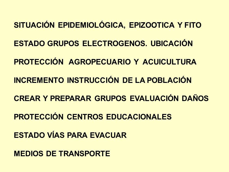 SITUACIÓN EPIDEMIOLÓGICA, EPIZOOTICA Y FITO ESTADO GRUPOS ELECTROGENOS. UBICACIÓN PROTECCIÓN AGROPECUARIO Y ACUICULTURA INCREMENTO INSTRUCCIÓN DE LA P