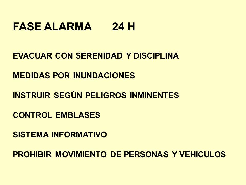 FASE ALARMA 24 H EVACUAR CON SERENIDAD Y DISCIPLINA MEDIDAS POR INUNDACIONES INSTRUIR SEGÚN PELIGROS INMINENTES CONTROL EMBLASES SISTEMA INFORMATIVO P