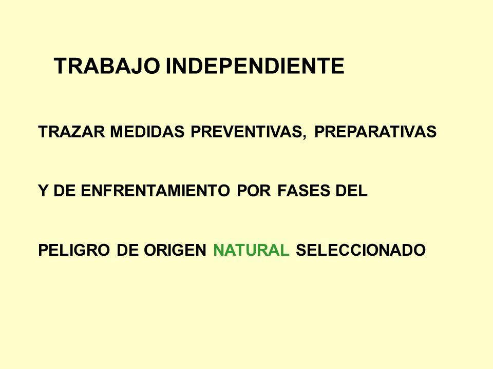 TRABAJO INDEPENDIENTE TRAZAR MEDIDAS PREVENTIVAS, PREPARATIVAS Y DE ENFRENTAMIENTO POR FASES DEL PELIGRO DE ORIGEN NATURAL SELECCIONADO