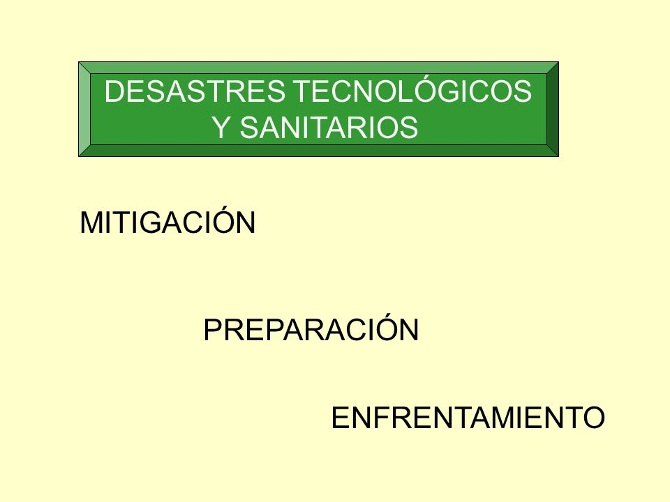 DESASTRES TECNOLÓGICOS Y SANITARIOS MITIGACIÓN PREPARACIÓN ENFRENTAMIENTO