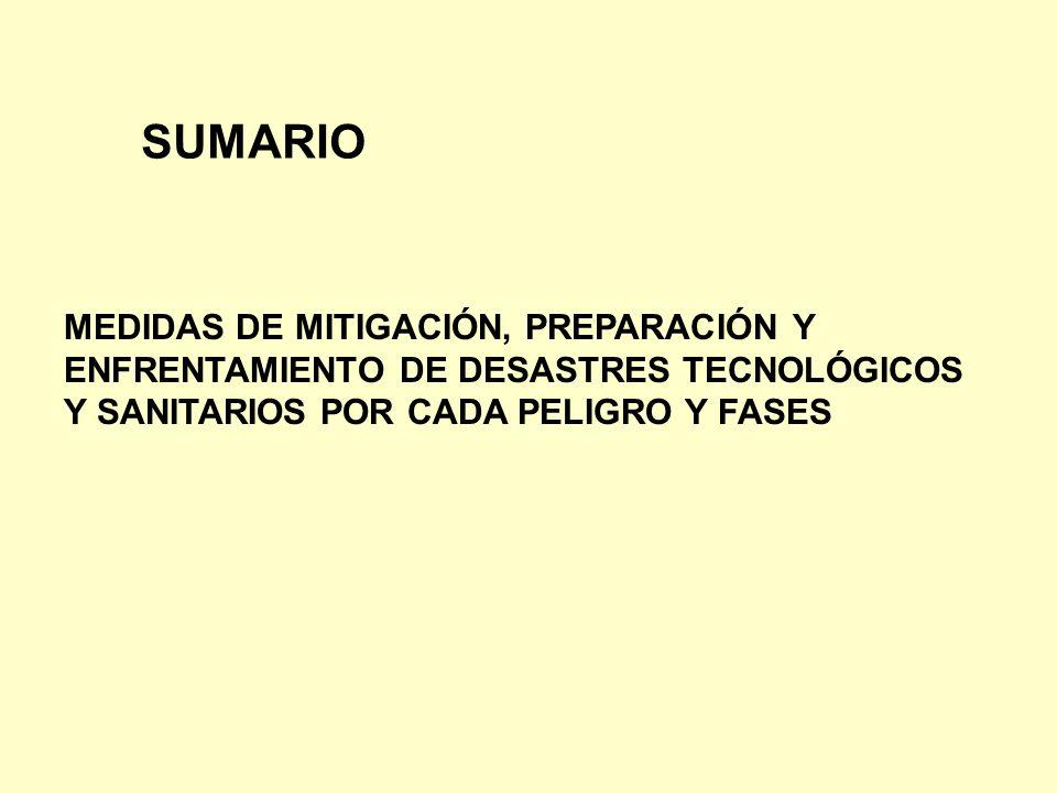 MEDIDAS DE MITIGACIÓN, PREPARACIÓN Y ENFRENTAMIENTO DE DESASTRES TECNOLÓGICOS Y SANITARIOS POR CADA PELIGRO Y FASES SUMARIO