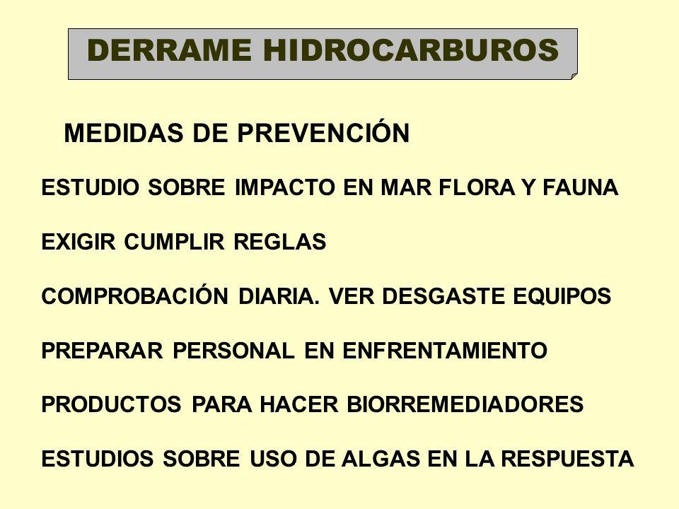 DERRAME HIDROCARBUROS MEDIDAS DE PREVENCIÓN ESTUDIO SOBRE IMPACTO EN MAR FLORA Y FAUNA EXIGIR CUMPLIR REGLAS COMPROBACIÓN DIARIA. VER DESGASTE EQUIPOS