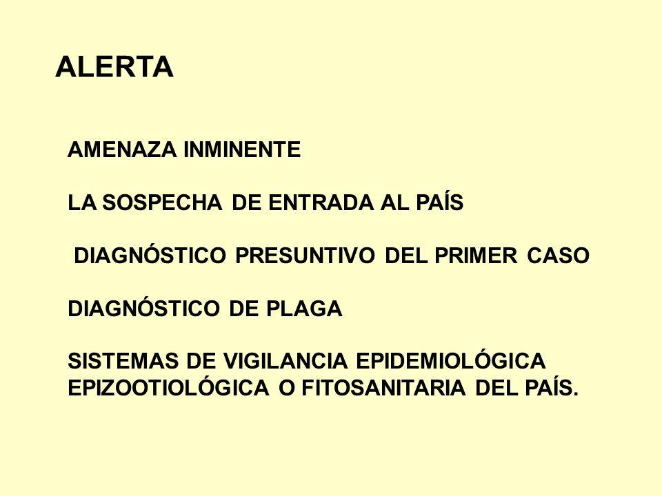 ALERTA AMENAZA INMINENTE LA SOSPECHA DE ENTRADA AL PAÍS DIAGNÓSTICO PRESUNTIVO DEL PRIMER CASO DIAGNÓSTICO DE PLAGA SISTEMAS DE VIGILANCIA EPIDEMIOLÓG