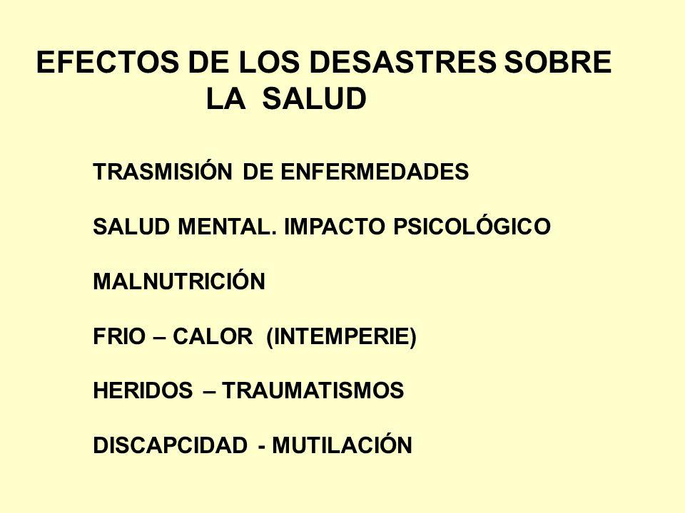 EFECTOS DE LOS DESASTRES SOBRE LA SALUD TRASMISIÓN DE ENFERMEDADES SALUD MENTAL. IMPACTO PSICOLÓGICO MALNUTRICIÓN FRIO – CALOR (INTEMPERIE) HERIDOS –