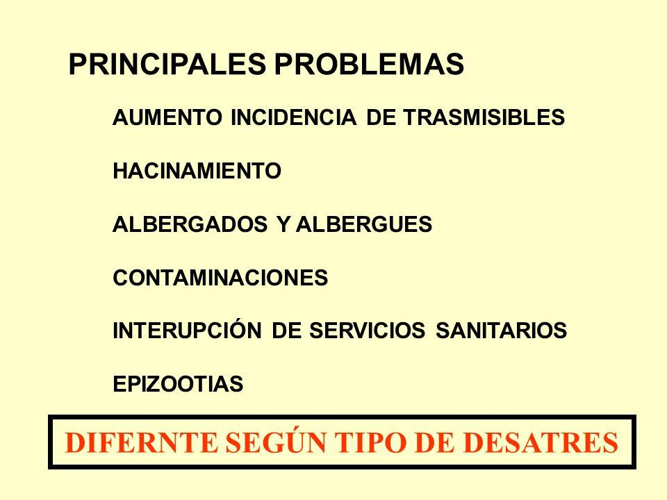 PRINCIPALES PROBLEMAS AUMENTO INCIDENCIA DE TRASMISIBLES HACINAMIENTO ALBERGADOS Y ALBERGUES CONTAMINACIONES INTERUPCIÓN DE SERVICIOS SANITARIOS EPIZO