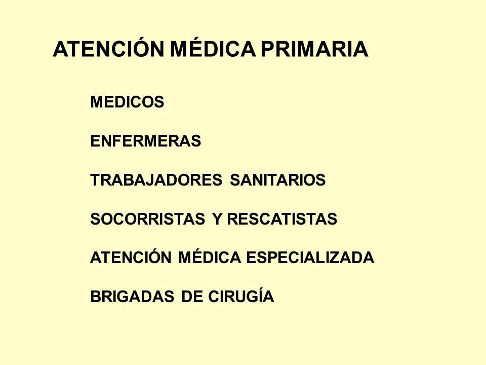 ATENCIÓN MÉDICA PRIMARIA MEDICOS ENFERMERAS TRABAJADORES SANITARIOS SOCORRISTAS Y RESCATISTAS ATENCIÓN MÉDICA ESPECIALIZADA BRIGADAS DE CIRUGÍA
