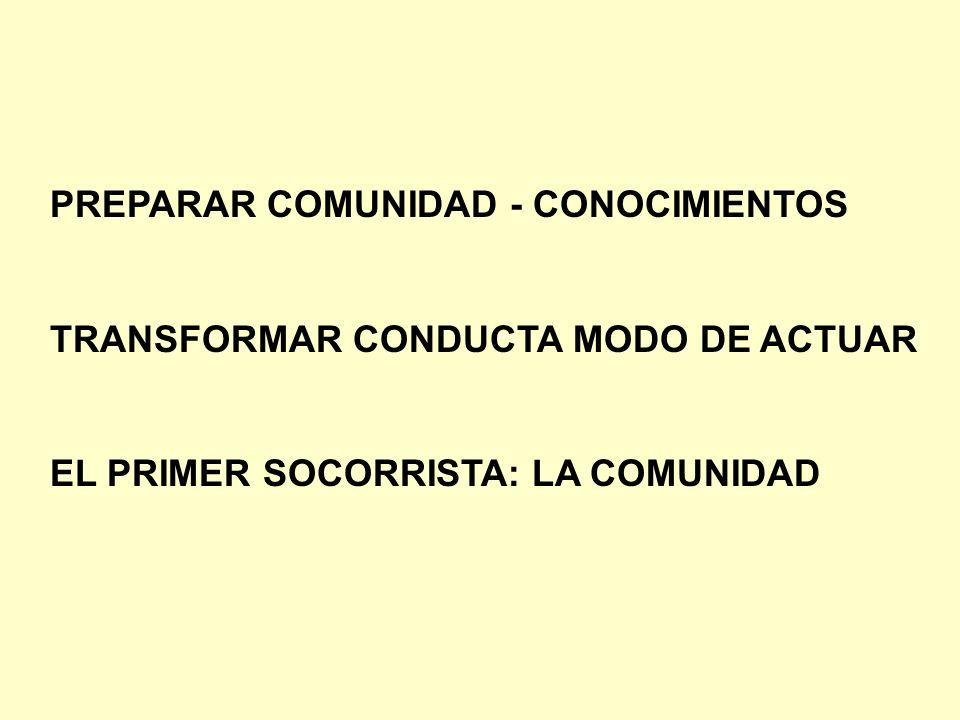 PREPARAR COMUNIDAD - CONOCIMIENTOS TRANSFORMAR CONDUCTA MODO DE ACTUAR EL PRIMER SOCORRISTA: LA COMUNIDAD