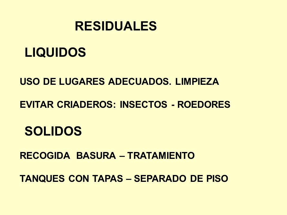 RESIDUALES USO DE LUGARES ADECUADOS. LIMPIEZA EVITAR CRIADEROS: INSECTOS - ROEDORES LIQUIDOS SOLIDOS RECOGIDA BASURA – TRATAMIENTO TANQUES CON TAPAS –