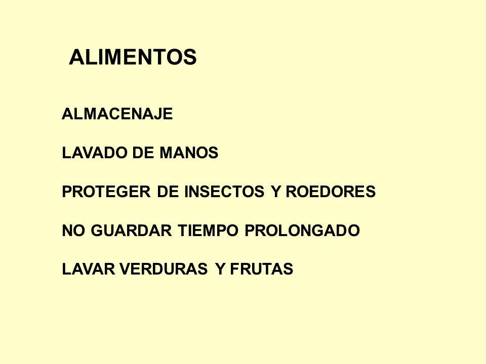 ALIMENTOS ALMACENAJE LAVADO DE MANOS PROTEGER DE INSECTOS Y ROEDORES NO GUARDAR TIEMPO PROLONGADO LAVAR VERDURAS Y FRUTAS