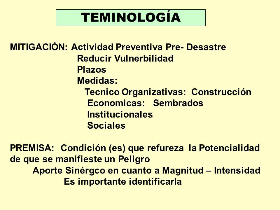 TEMINOLOGÍA MITIGACIÓN: Actividad Preventiva Pre- Desastre Reducir Vulnerbilidad Plazos Medidas: Tecnico Organizativas: Construcción Economicas: Sembr