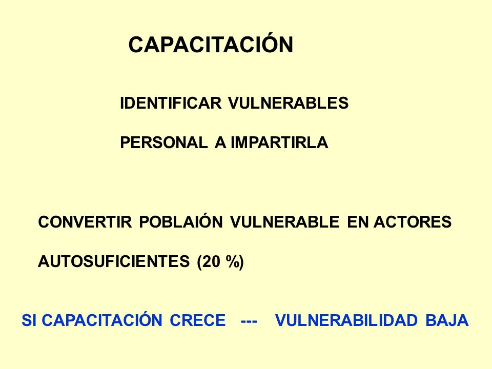 CAPACITACIÓN IDENTIFICAR VULNERABLES PERSONAL A IMPARTIRLA CONVERTIR POBLAIÓN VULNERABLE EN ACTORES AUTOSUFICIENTES (20 %) SI CAPACITACIÓN CRECE --- V