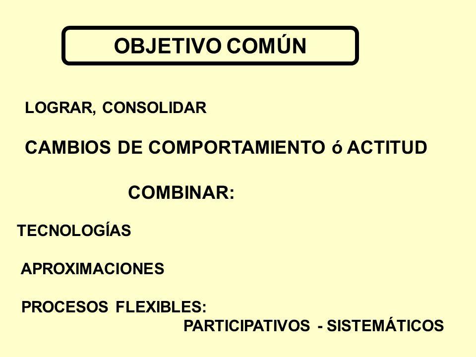 LOGRAR, CONSOLIDAR CAMBIOS DE COMPORTAMIENTO ó ACTITUD COMBINAR: TECNOLOGÍAS APROXIMACIONES PROCESOS FLEXIBLES: PARTICIPATIVOS - SISTEMÁTICOS OBJETIVO